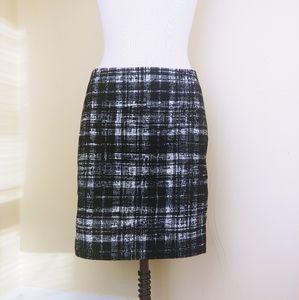Ann Taylor Black and White Tweed Mini Pencil Skirt